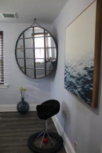 Mirror in corner of room